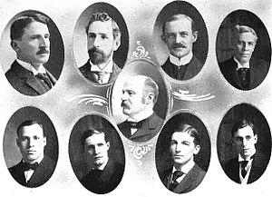 Albert Pattengill - Michigan's 1905-06 Athletic Board of Control (Chairman Pattengill at center)