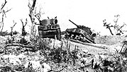 American Sherman tanks knocked out by Japanese artillery on Okinawa.