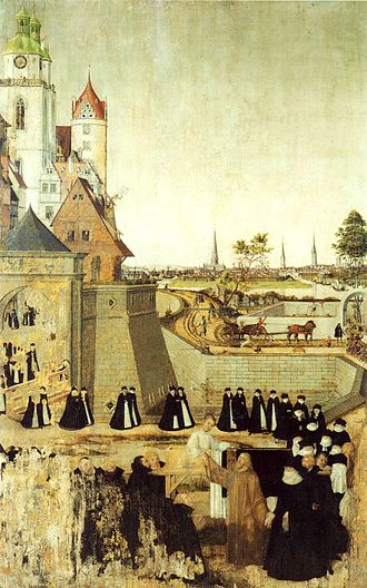 Raising of the son of the widow of Nain - Resurrection of the Widow's son from Nain, altar panel by Lucas Cranach the Younger, c. 1569, in the Stadtkirche Wittenberg.