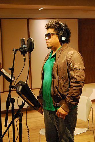 Recording studio - A Mexican Son jarocho singer recording tracks at the Tec de Monterrey studios