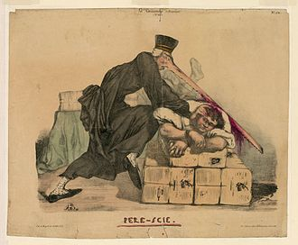 Jean-Charles Persil - An 1832 cartoon depicting Persil attacking the editor of La Caricature with his huge saw-like nose