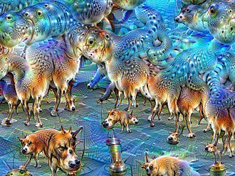 DeepDream - The same image before (left) and after (right) applying fifty iterations of DeepDream, the network having been trained to perceive dogs