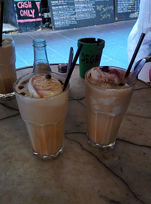 Iced coffee - Australian iced coffee served with ice cream and coffee beans