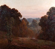 Painting of thick foliage of wooded slopes of a small valley at sunset
