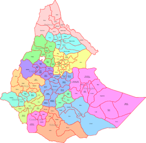 Awrajja - A map of the former Awrajjas of Ethiopia