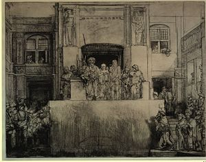 Perp walk - Christ presented to the people, as etched by Rembrandt