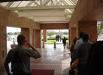 Brooke Army Medical Center - Folding the US flag at the BAMC main entrance in 2005.