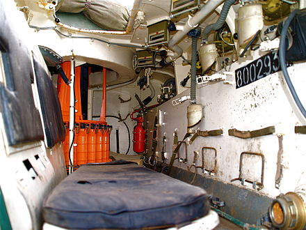 One side of the troop compartment. Seats are back to back with a fuel tank between them. Fume extractors can be seen on the hull to the right, these clip on to weapons when they are used through the firing ports.