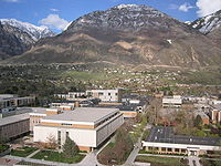 The BYU campus, looking east. Y mountain is in the background.