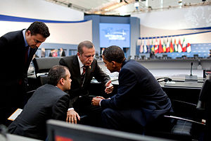 Foreign policy of the Recep Tayyip Erdoğan government - Recep Tayyip Erdogan and U.S. President Barack Obama following the G-20 Summit afternoon session