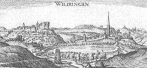 Bad Wildungen - A drawing of Bad Wildungen by Matthäus Merian, 1655