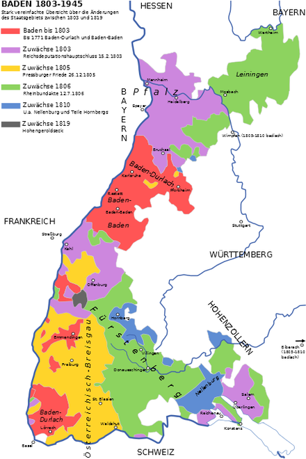 Grand Duchy of Baden with the Margraviate (red) and gains after 1803