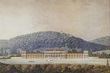 Schloss Weilburg, Aufriss der Nordfront, vor der Burgruine Rauheneck (Joseph Kornhäusel, um 1820) (Quelle: Wikimedia)