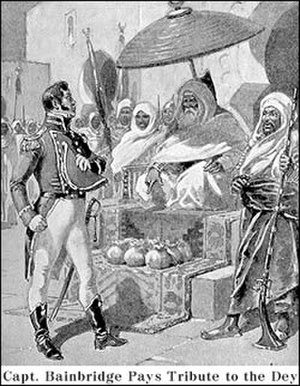 First Barbary War - Captain William Bainbridge paying tribute to the Dey of Algiers, 1800