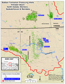 oil wells producing from the bakken formation us and canada in 2011