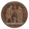 Baksida av medalj med kvinna som räcker över svärd och kors till Nicolaus I, 1818 - Skoklosters slott - 99319.tif