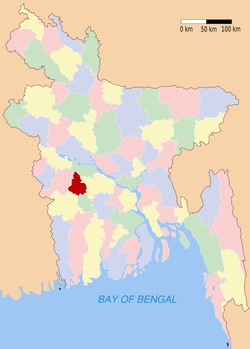 Location of Magura in Bangladesh