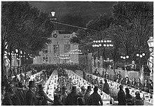 gravure représentant un banquet en plein air.