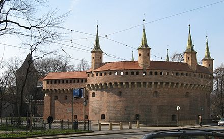 The Krakow Barbican dating from around 1498 was once a fortified outpost of the inner medieval city Barbakan Krakow z ulicy Basztowej.jpg
