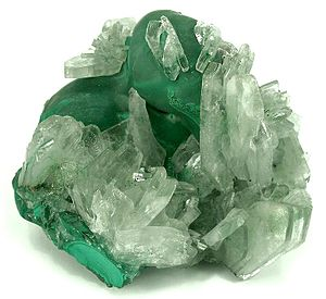 Malachite - Barite (included by malachite) on Malachite