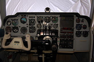 Beechcraft Baron - Cockpit of a 1964 Baron 55 with a mixture of original equipment and modern avionics