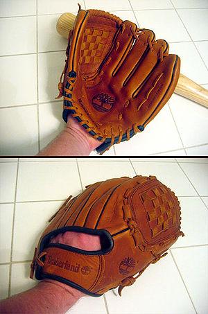 Baseball glove front back