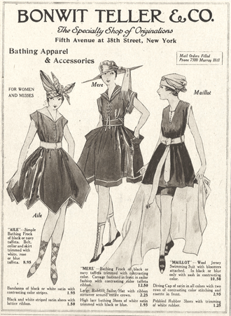 Maillot - Historical advertisement for a maillot from 1916 (far right).
