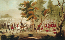 Painting of a battle scene, white men versus Native Americans. Prominent are a white man on a horse shooting and a Native American being shot.