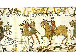 Guy I, Count of Ponthieu - Guy capturing Harold, scene 7 of the Bayeux Tapestry
