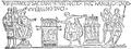 Bayeuxtapeten, Harald avlägger inför Vilhelm ed på helgonrelikerna, Nordisk familjebok.png