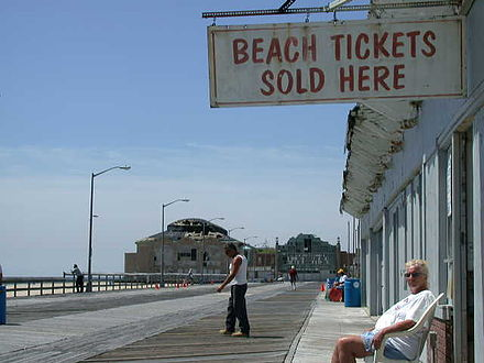 Ordinary life in New Jersey beach towns such as Asbury Park is the background to Springsteen's early lyrics Beach tickets.JPG