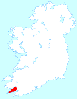 Beara Peninsula - Location map of the Beara Peninsula