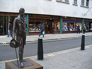 Metrosexual - London's Jermyn Street, a centre of men's tailoring, with statue honouring the iconic Regency dandy Beau Brummell