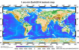 Global Relief Model - Example of a global relief model: Earth2014 bedrock layer (topography over land, bathymetry over oceans and major lakes, sub-ice-topography over ice-shields)