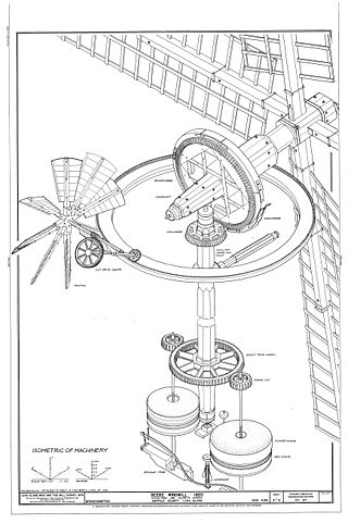An isometric drawing of the machinery of the Beebe Windmill. It was built in Bridgehampton, NY in 1820.