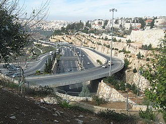 Highway 50 (Israel) - Northward toward Givat Shaul Interchange