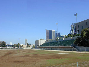 Belmont High School (Los Angeles) - Belmont High School athletic field showing City Hall at the lower left corner