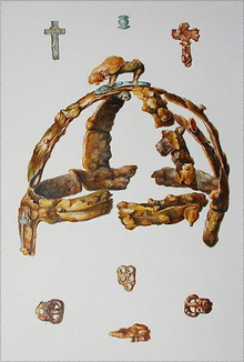 Colour image of a Llewellynn Jewitt watercolour depicting the Benty Grange helmet and associated finds