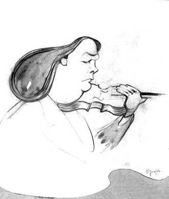 "Eugène Ysaÿe - Ber Zalkind. ""Cartoon of Violinist Eugène Ysaÿe."" 1913"