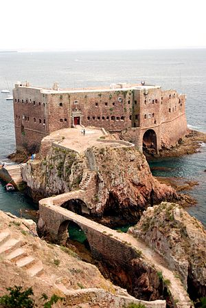 Fort of São João Baptista (Berlengas) - View of the north and western facades of the Fort, showing the arched bridge that allows access to the grounds