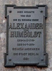 Berlin Gedenktafel Alexander von Humboldt Oranienburger Str 67 2009 09 20