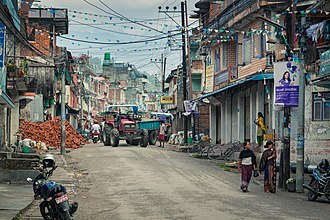 Besisahar - Main street of Besishahar Municipality in the morning.