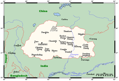Map Of Asia Bhutan.Geography Of Bhutan Wikipedia