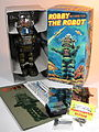Billiken Shokai Tin Wind Up Robby the Robot with Disintegrator Ray Gun Olive Green Version Box Inside.jpg