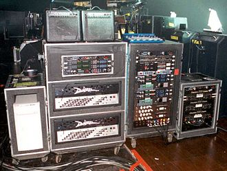 Guitar technician - Photo of Billy Corgan's guitar rig taken by his guitar tech during one of the Smashing Pumpkins' live shows during their 200? tour.