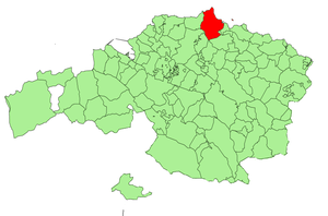 Location of Bermeo in Biscay