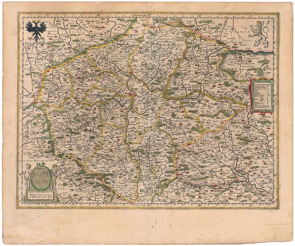 Pavel Aretin z Ehrenfeldu - Mapa Čech, vydaná v roce 1645 nizozemskými vydavateli Blaeuy