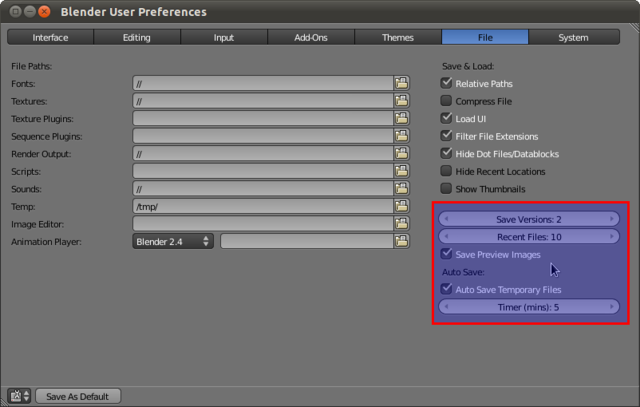 Blender User Preferences - Auto Save