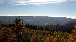Blick auf Zella-Mehlis, Herbst, Richtung Mehlis