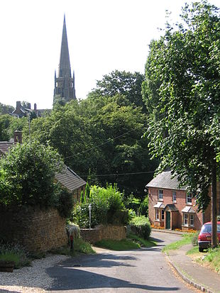 """Part of Bloxham village, with<br class=""""prcLst"""" />St Mary's church spire in the background"""